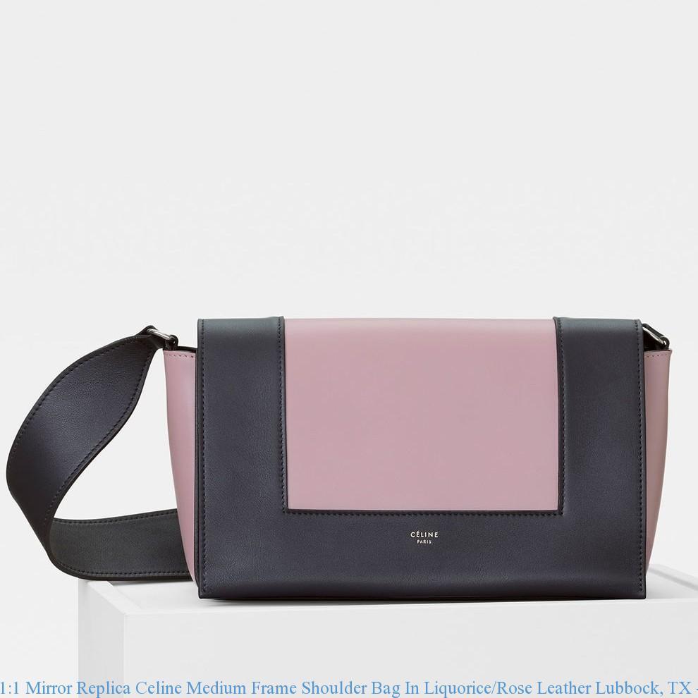 5e67c9b2b79847 1:1 Mirror Replica Celine Medium Frame Shoulder Bag In Liquorice ...