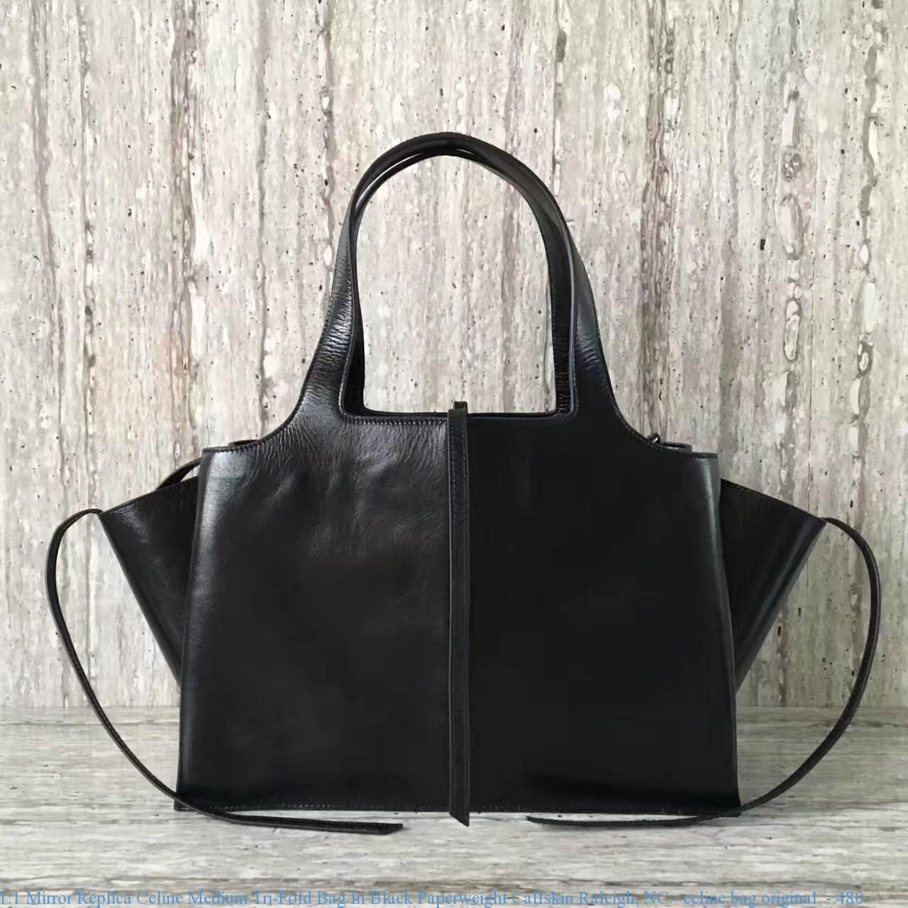 79018ee24b 1 1 Mirror Replica Celine Medium Tri-Fold Bag In Black Paperweight ...