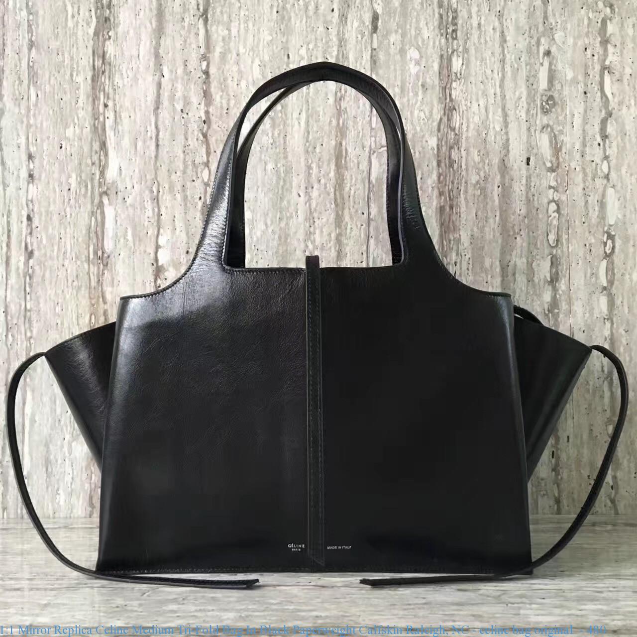 1 1 Mirror Replica Celine Medium Tri-Fold Bag In Black Paperweight ... ecc621911fabe