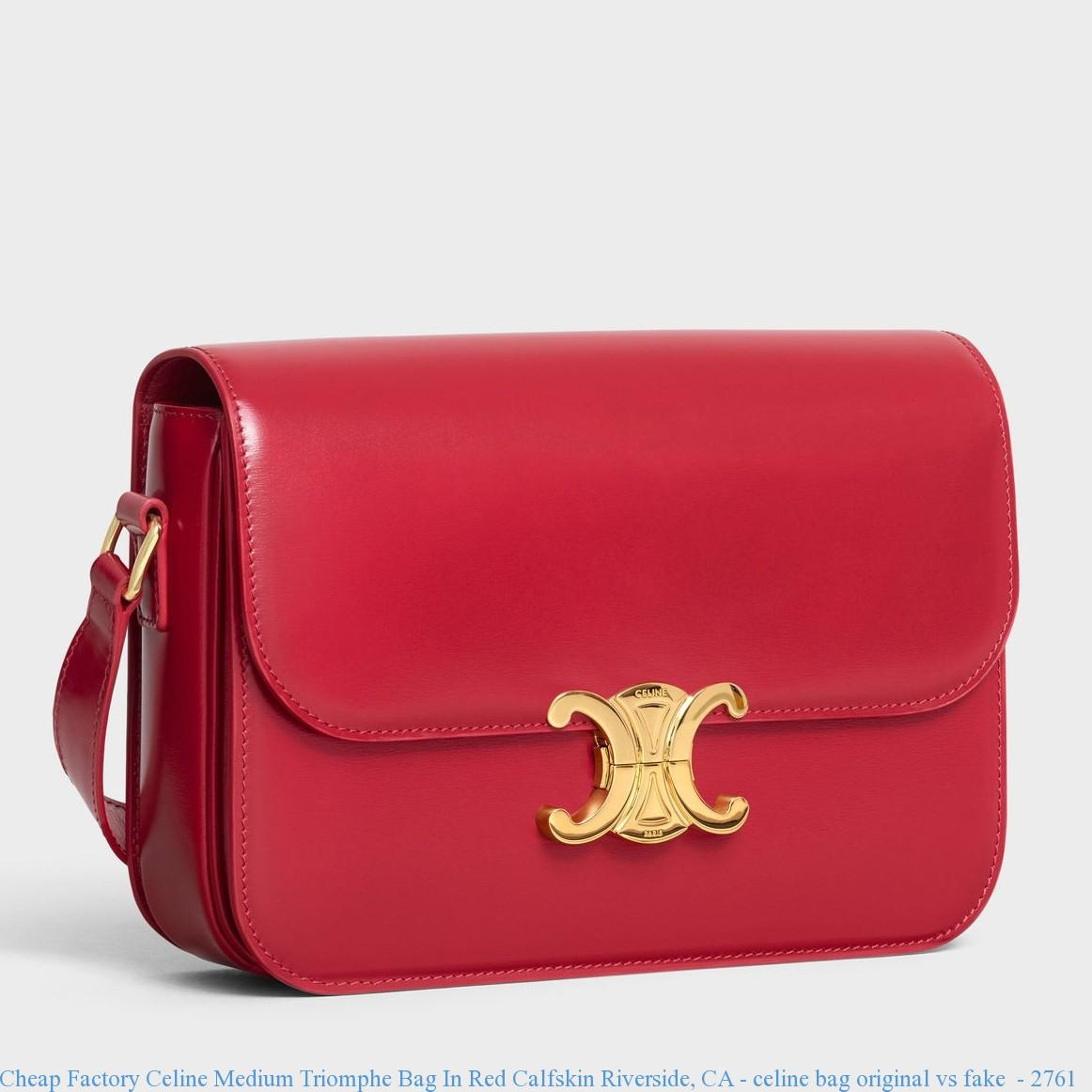 6808db5cfb Cheap Factory Celine Medium Triomphe Bag In Red Calfskin Riverside ...