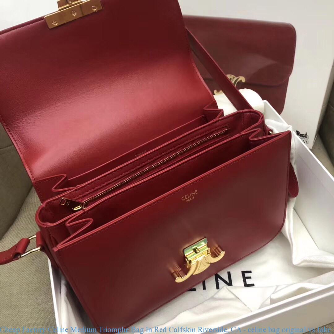 Cheap Factory Celine Medium Triomphe Bag In Red Calfskin