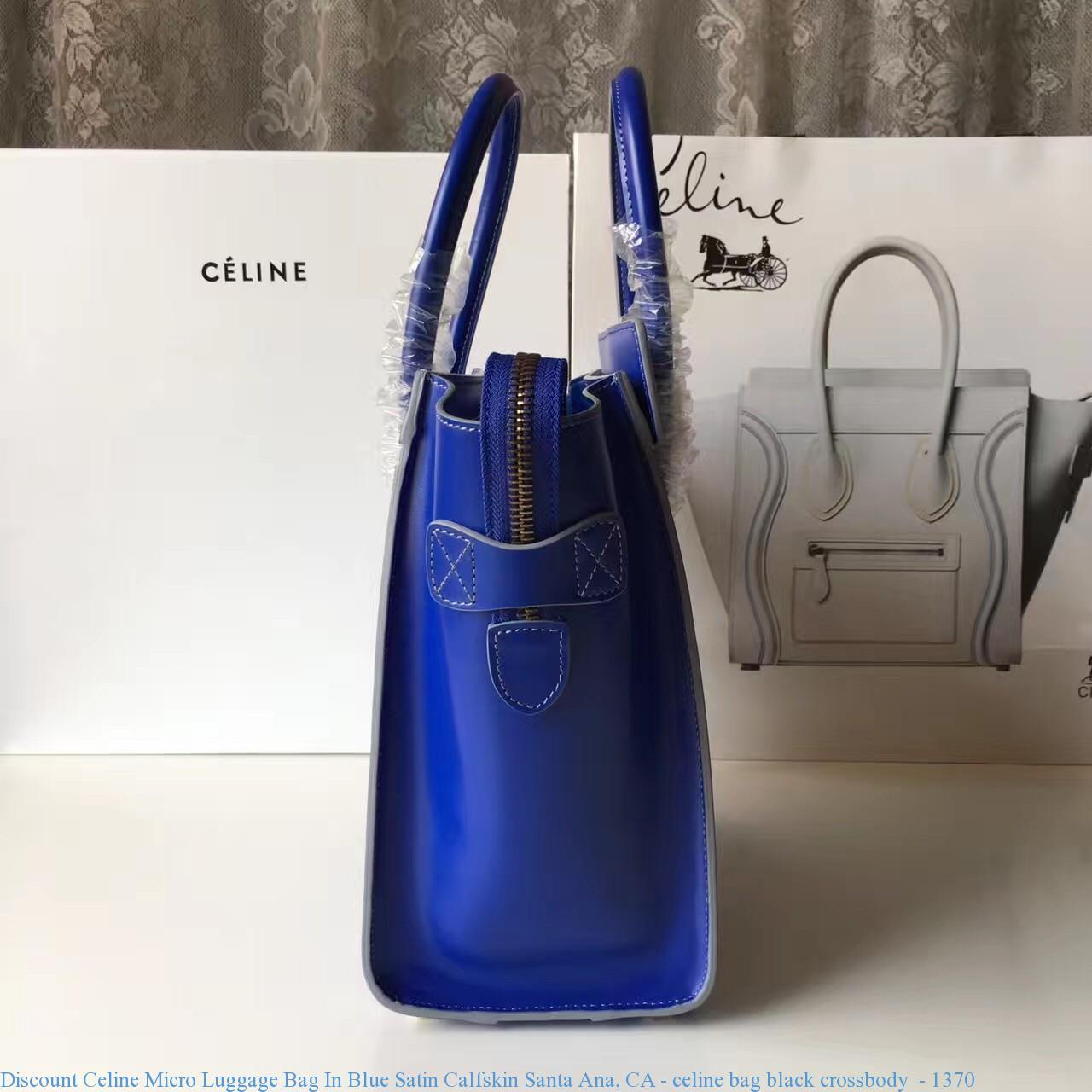 11440333da Discount Celine Micro Luggage Bag In Blue Satin Calfskin Santa Ana ...