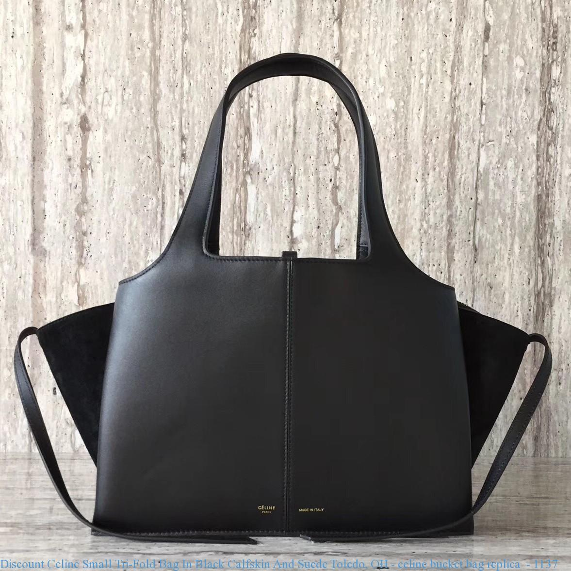 4ff930776b Discount Celine Small Tri-Fold Bag In Black Calfskin And Suede ...