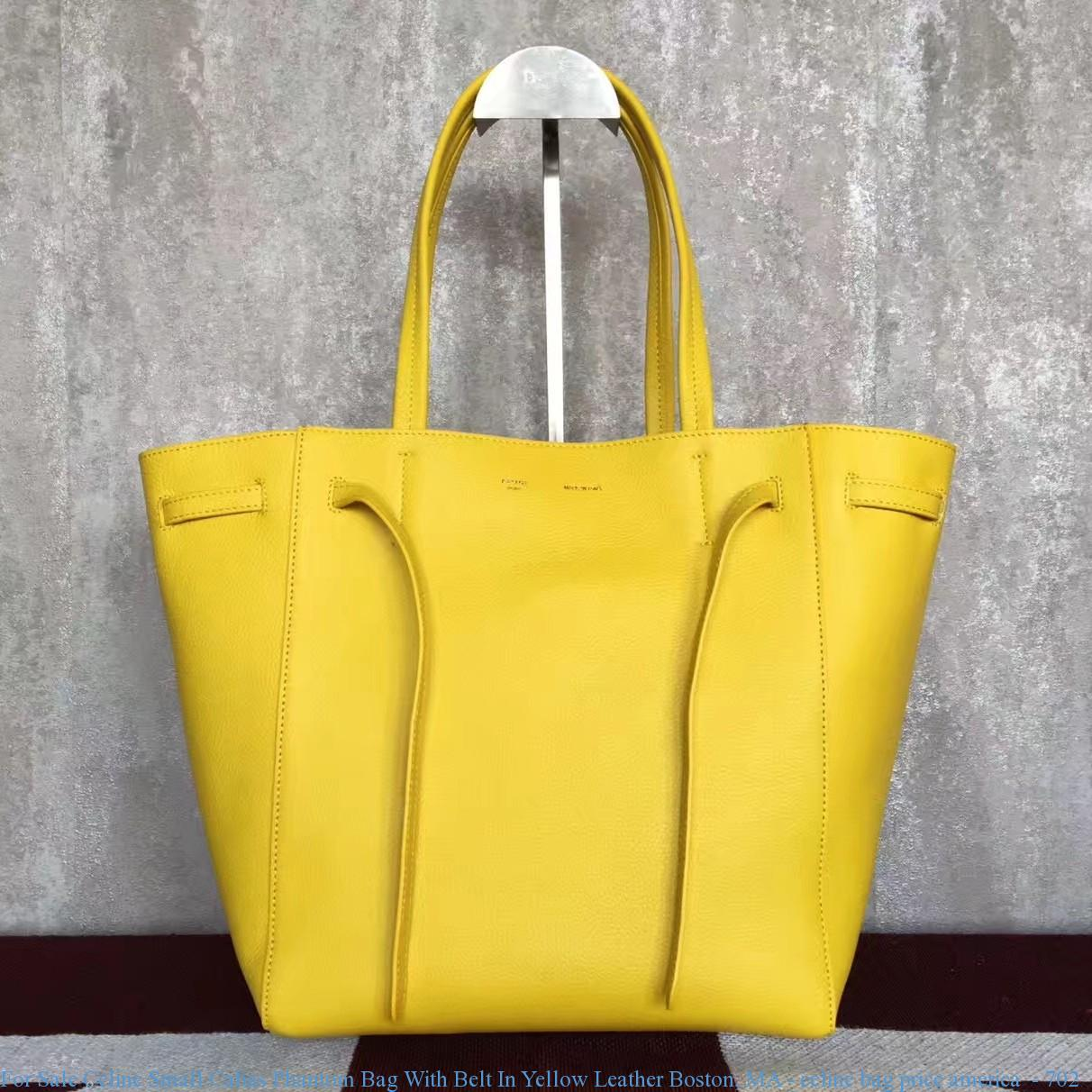 For Celine Small Cabas Phantom Bag With Belt In Yellow Leather Boston Ma Price America 702