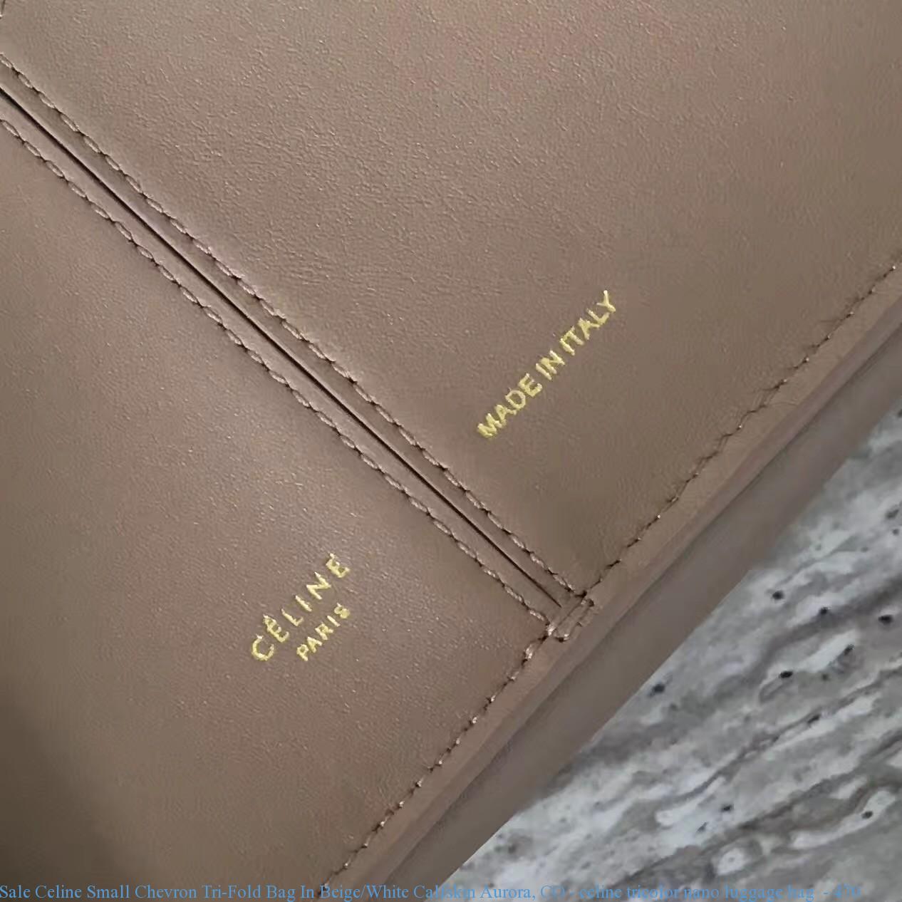 Sale Celine Small Chevron Tri-Fold Bag In Beige White Calfskin ... fdc12dcce3734